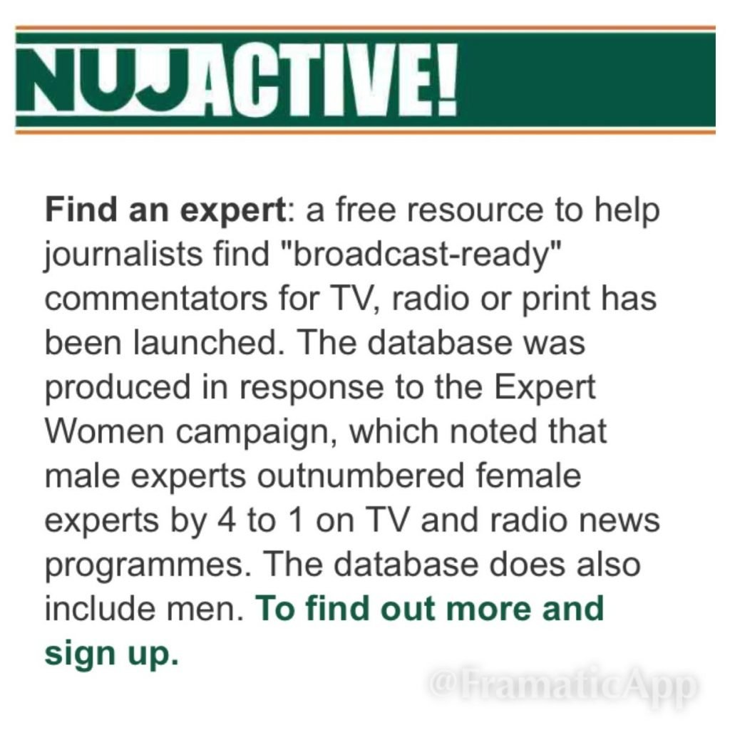 NUJ Active Expert Women Campaign Broadcasters Academy