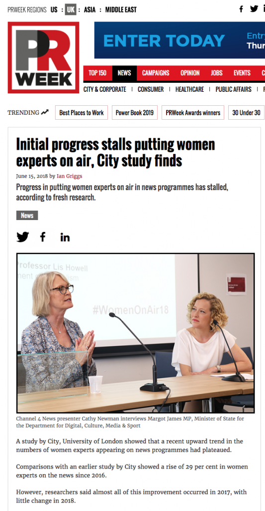 PR Week - Initial progress stalls putting women experts on air, City study finds