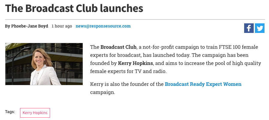 Broadcast Club How to get on TV Kerry Hopkins Broadcasters Academy